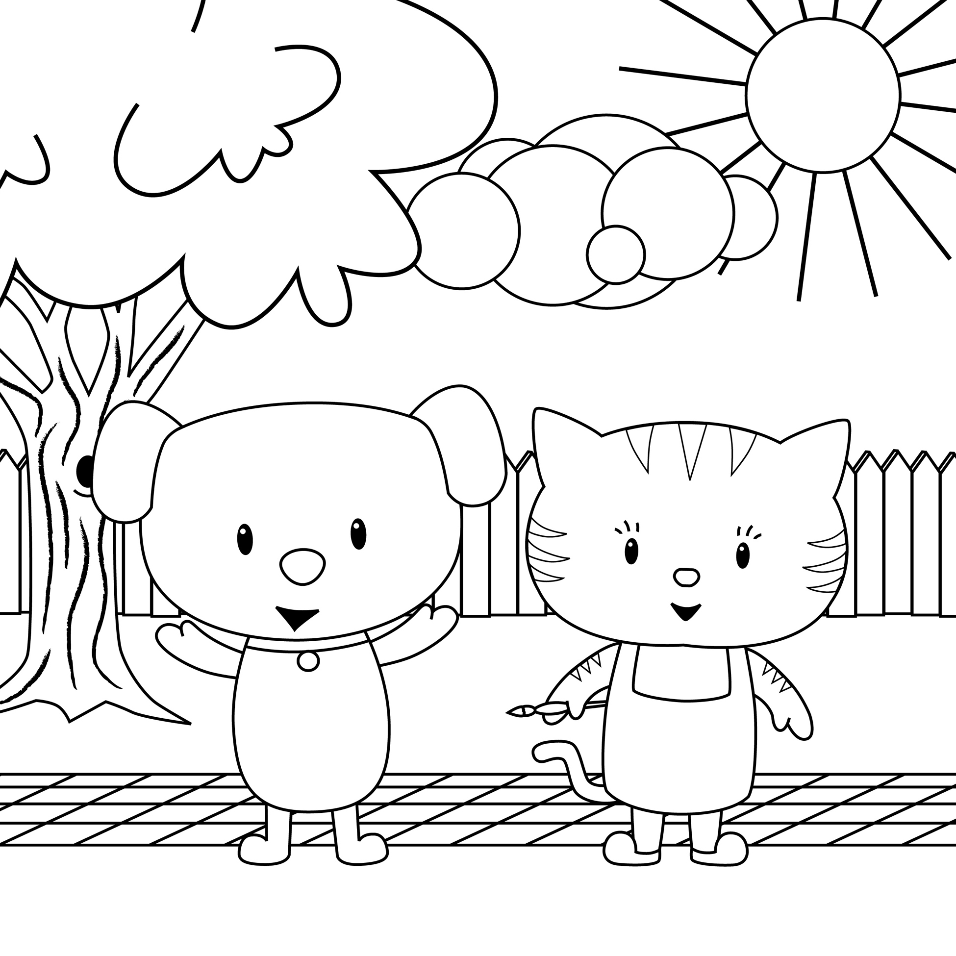 Colouring Pictures Cats Dogs : Lake Calm Winter Frost Trees Pink Coloring Pages With Dogs And Cats